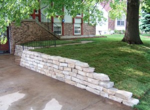 Custom built retaining wall.